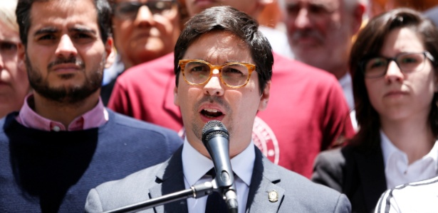 O oposicionista Freddy Guevara, vice-presidente da Assembleia Nacional venezuelana, em Caracas