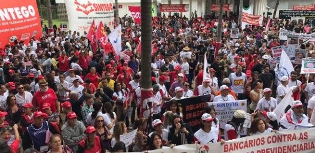 Em Goiânia, ato contra reformas reúne professores, bancários, policiais civis e sindicalistas - Divulgação/Sintego (Sindicato dos Trabalhadores em Educação de Goiás)