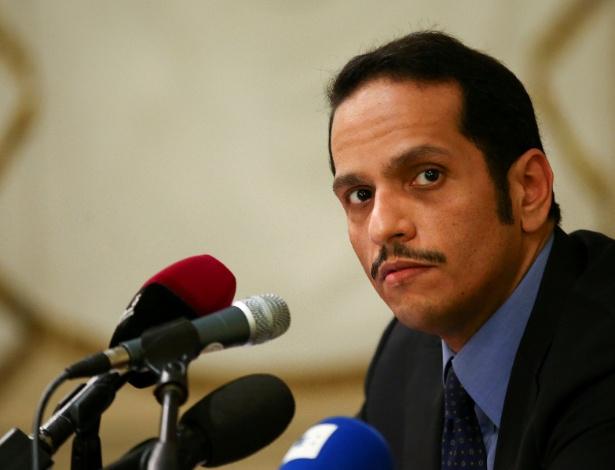 Ministro das Relações Exteriores do Qatar em coletiva de imprensa em Roma, no sábado