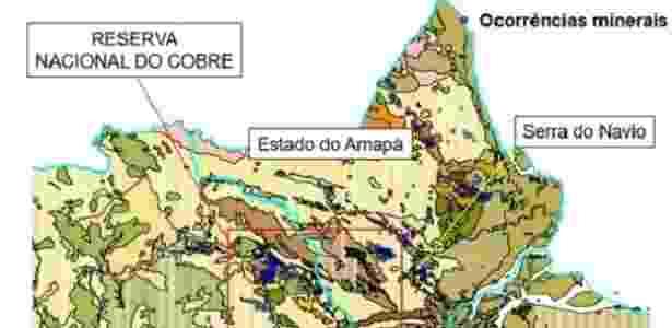 Dentro do retângulo vermelho, local da Reserva Nacional de Cobre - Divulgação/Ministério das Minas e Energia