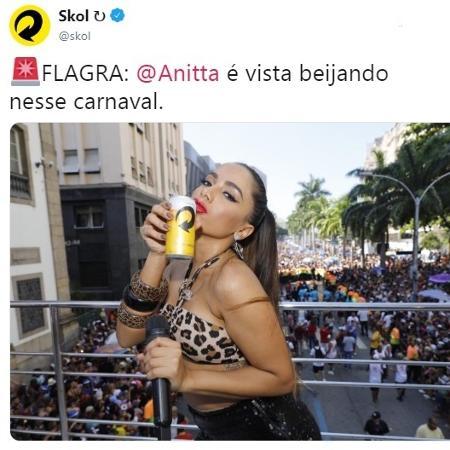 Estúdio usou foto de Anitta durante bloco de carnaval - Reprodução