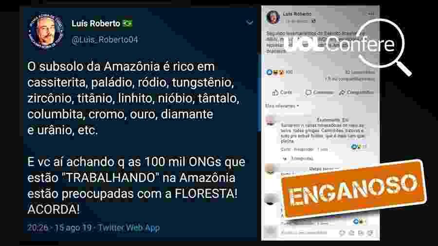 """26.ago.2019 - Post enganoso sugere, sem evidências, que ONGs na Amazônia estariam interessadas não na """"floresta"""", mas nos minérios presentes na área - Arte/UOL"""