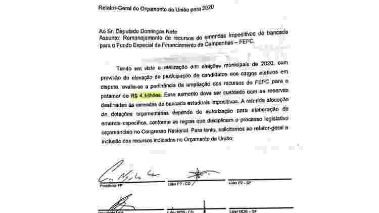 Maioria dos partidos fechou acordo para garantir aumento do Fundo Eleitoral (a imagem foi parcialmente cortada para exibição) - Reprodução/Deputado Domingos Neto