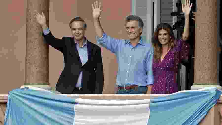 """Ato de despedida de Mauricio Macri: presidente brasileiro chegou a afirmar que vitória da chapa de Cristina Kirchner poderia transformar Argentina """"em uma Venezuela"""" - ALEJANDRO PAGNI/AFP"""