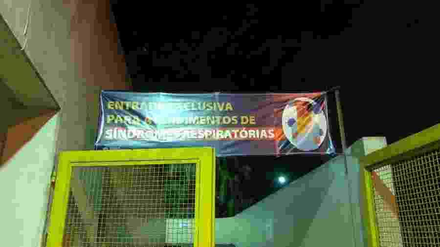 Faixa no Hospital Geral do Grajaú indica área reservada para pacientes de síndrome respiratória - Gabriela Sá Pessoa/UOL
