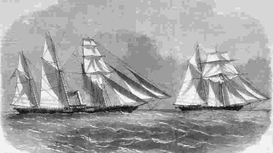 Entre 1831 e 1850, navios com a bandeira norte-americana corresponderam a 58,2% de todas as expedições negreiras com destino ao Brasil - Slavery Images/BBC
