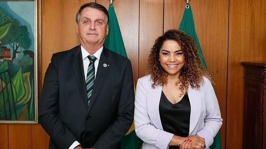 A prefeita de Bauru, Suellen Rosim (Patriota), e o presidente da República, Jair Bolsonaro (sem partido), durante encontro em Brasília - Reprodução/Instagram