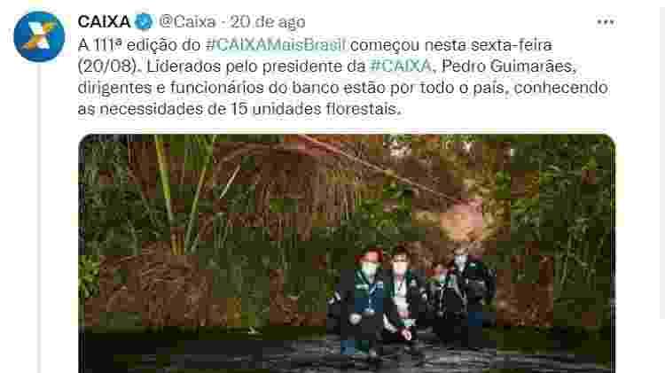 Postagem da Caixa em seu perfil oficial no Twitter mostra o presidente da instituição, Pedro Guimarães, atravessando um rio no Jalapão (TO) - Reprodução/Twitter - Reprodução/Twitter