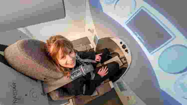 Médica Hayley Arceneaux em teste da centrífuga - Inspiration4/John Kraus - Inspiration4/John Kraus
