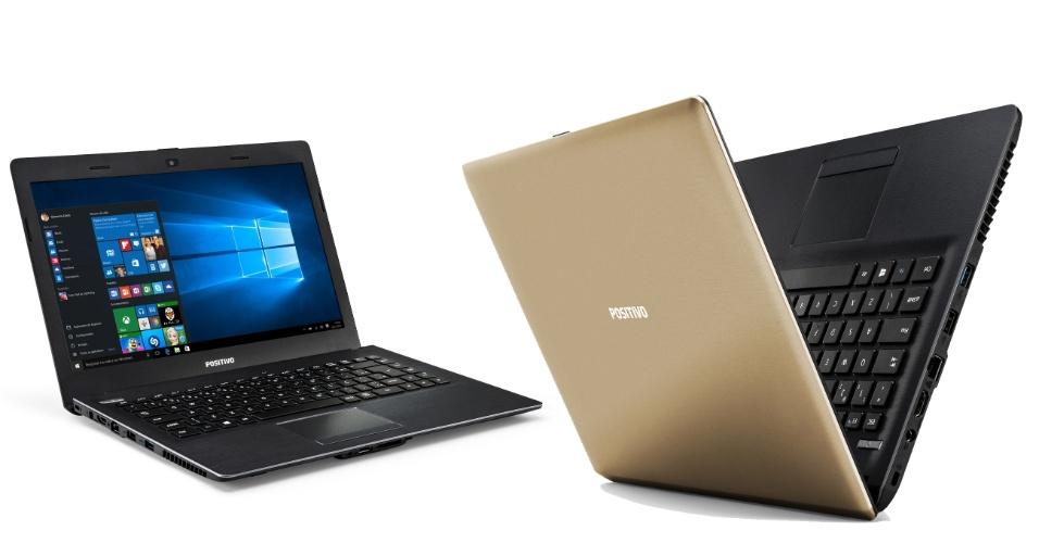 24.nov.2015 - A Positivo apresenta ao mercado o notebook Stilo Gold XR3500 com acabamento externo dourado. O modelo vem com tela LCD de 14 polegadas, sistema operacional Windows 10, processador Intel Dual-Core, 32 GB de memória Flash, 2 GB de memória RAM, webcam integrada, conectividade Wi-Fi e portas de conexão HDMI, duas USB 2.0 e uma USB 3.0. Seu preço sugerido é de R$ 1.129.