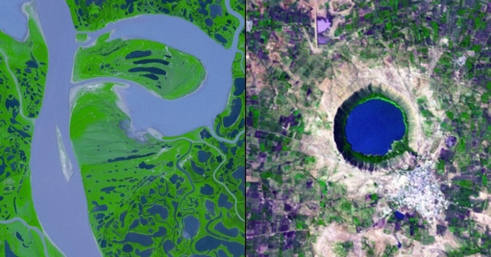 """6.jan.2015 - A foz do rio Mackenzie, no Canadá forma a letra """"P"""" e a Cratera Lonar, na Índia, parece formar a letra """"Q"""""""