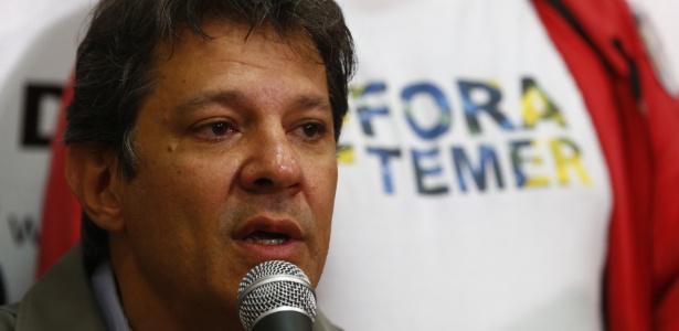 Fernando Haddad, durante discurso sobre a derrota nas eleições paulistanas