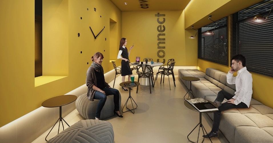 Imagem ilustrativa do espaço coworking do prédio da construtora Vitacon, em São Paulo