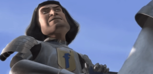 Se liga no símbolo no peito do Lord Farquaad