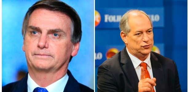 Jair Bolsonaro (à esq.) e Ciro Gomes