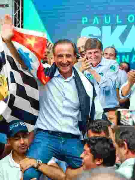 Paulo Skaf (MDB) em ato de campanha em 2018 - Divulgação/Twitter Paulo Skaf