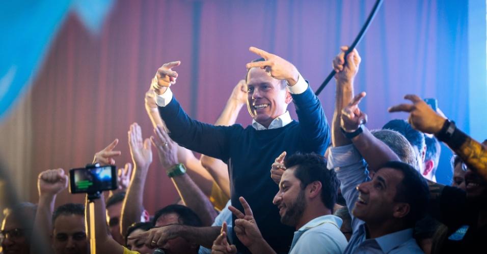 28.out.2018 - João Doria durante coletiva no clube Homs após ser eleito governador de São Paulo