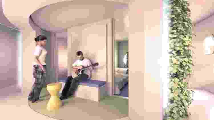Jardim hidropônico fica na sala de estar da nave - Divulgação/SEArch+ - Divulgação/SEArch+