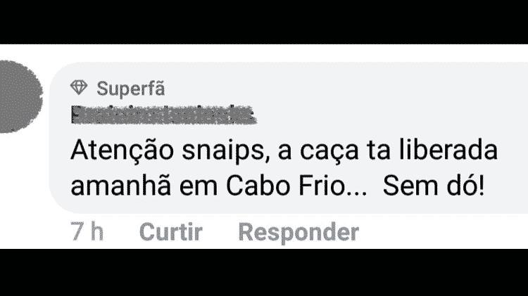 Comentário em post sobre a Parada Gay de Cabo Frio - Reprodução/Facebook