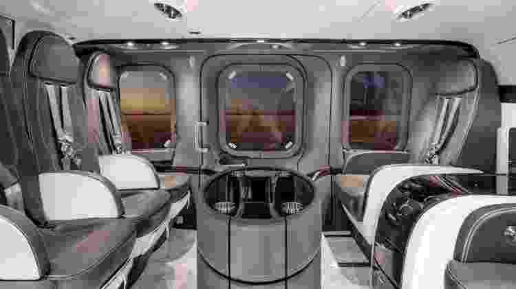 O interior batizado de Silens pela Mecaer tem um isolamento acústico reforçado, que permite aos passageiros conversarem sem precisar utilizar fones de ouvido - Divulgação/Mecaer Aviation Group
