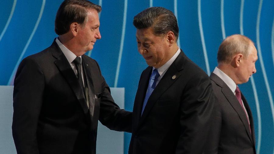 Bolsonaro, Jinping e Putin no encontro dos Brics - Sergio Lima / AFP