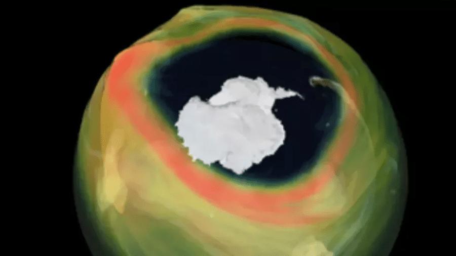 O buraco da camada de ozônio na atmosfera da Antártica, no dia 27 de setembro de 2020 - Imagem: UE Copernicus
