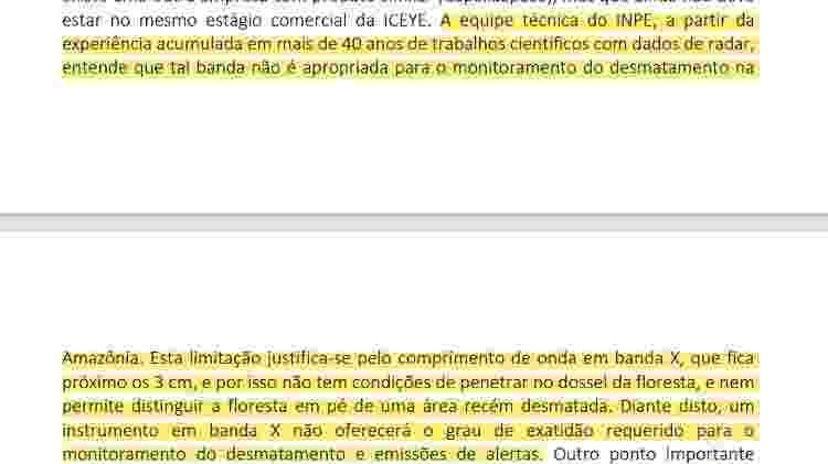 Trecho da resposta formulada pelo INPE e não enviada ao Congresso Nacional sobre requerimento de informações do deputado Alessandro Molon - Reprodução - Reprodução