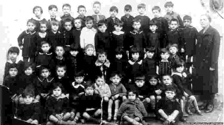 Alunos da escola primária da Alliance School onde estudou Isaac Jacob Menache, pai de Leon. Salônica, 1928-29 - Vozes do Holocausto/Arqshoah - Vozes do Holocausto/Arqshoah