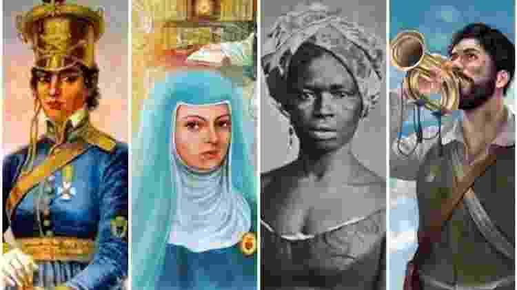 Personagens da Independência do Brasil na Bahia - Reprodução - Reprodução