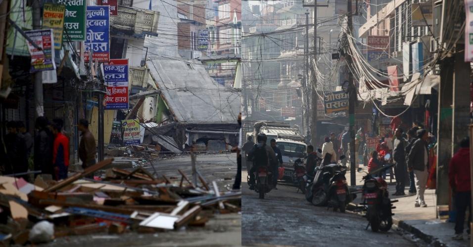 25.abr.2016 - Essa montagem mostra, à esquerda, moradores caminhando em uma rua deserta após uma casa desabar com o terremoto de magnitude 7,8 devastou parte da nação himalaia, em 29 de abril de 2015. À direita, está a mesma rua em foto feita em 17 de fevereiro de 2016. Aos quatro minutos para o meio dia do dia 25 de abril do ano passado, há exatamente um ano, um terremoto de magnitude 7,8 devastou parte da nação himalaia. Outro tremor, ocorrido 17 dias mais tarde, castigou ainda mais a população. Mais de 9.000 pessoas morreram
