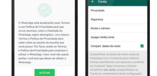 Desde o anúncio de que iria compartilhar dados com o Facebook, WhatsApp passou exigir que usuários se posicionem sobre os novos termos de serviço; são duas as formas de rejeitar o compartilhamento