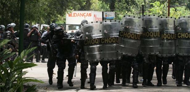Polícia Militar faz operação de reintegração de posse na região do Horto, nos limites do Jardim Botânico, Zona Sul do Rio de Janeiro (RJ), na manhã desta segunda-feira (7)