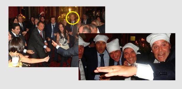 Na foto à esquerda, em destaque, o empresário Marco Antonio de Luca em confraternização com Cabral em Paris; com guardanapos na cabeça, estão Sérgio Côrtes (o 1º à esq.); Fernando Cavendish (o 3º, da esq. para a dir.) e Wilson Carlos (o 5º, seguindo a mesma ordem)