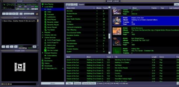 A maioria das pessoas que usavam o computador para ouvir música na segunda metade dos anos 1990 se deparava com essa tela; o Winamp foi extremamente popular pela sua versatilidade e possibilidades de personalização