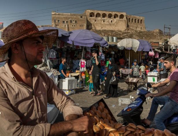 O mercado Al Qaysareyah em Kirkuk, no Iraque, antes do feriado muçulmano de Eid al-Adha