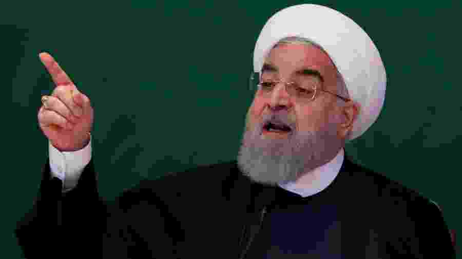 15.fev.2018 - O presidente iraniano Hassan Rouhani fala a líderes muçulmanos em Hyderabad, Índia - Danish/Reuters
