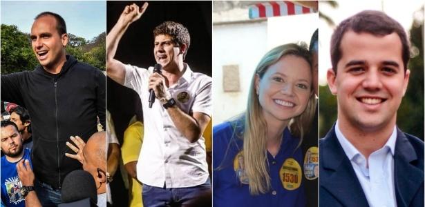 Da esq. para a dir., Eduardo Bolsonaro (PSL), João Campos (PSB), Danielle Cunha (MDB) e Marco Antônio Cabral (MDB)