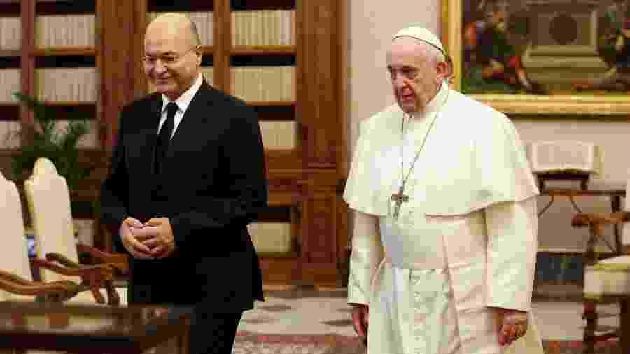 25.jan.2020 - Papa encontra presidente do Iraque, Barham Salih no Vaticano - Domenico Stinellis/Pool/Reuters
