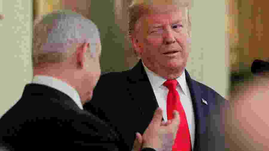 Presidente dos EUA, Donald Trump, e premiê de Israel, Benjamin Netanyahu, em Washington - BRENDAN MCDERMID
