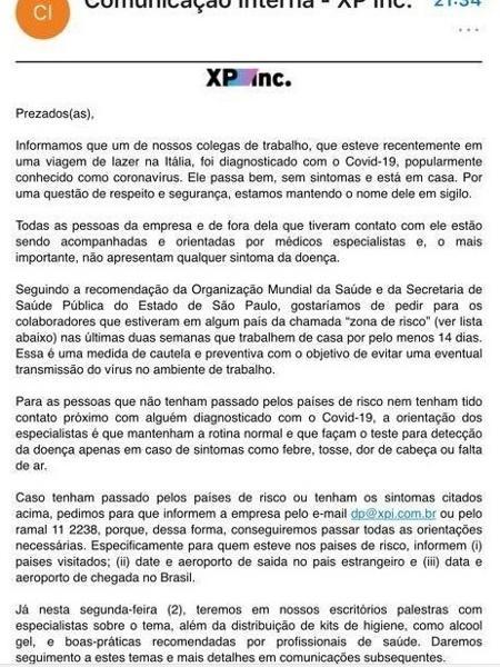 XP alertou funcionários por e-mail - Reprodução/WhatsApp