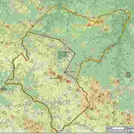Segundo mapa da Funai que indica plano de redução (linha tracejada) da área interditada para proteção de índios isolados em Ituna/Itatá, no Pará  - Reprodução - Reprodução