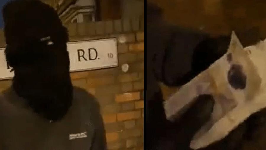 Ladrão mascarado enquanto explica o arrependimento, e notas de 20 libras devolvidas - Reprodução/YouTube/Info-Viral-Fun