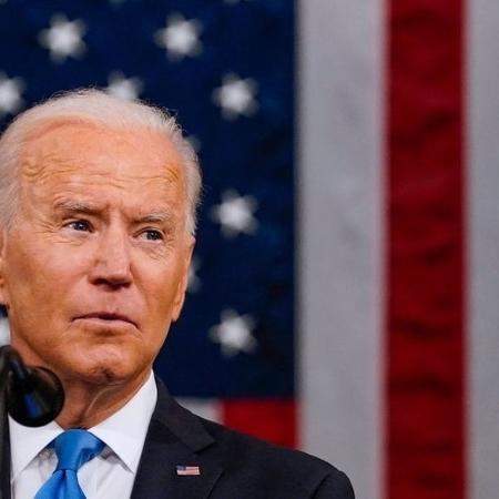 Joe Biden volta ao Congresso, desta vez como presidente dos Estados Unidos - GETTY IMAGES