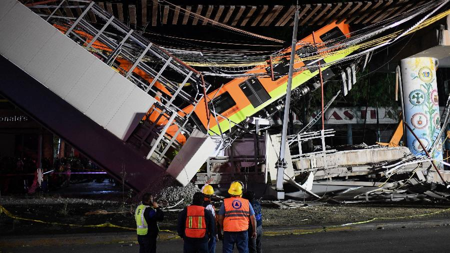 """Acidente na Linha 12 (""""Dorada"""") do metrô da Cidade do México deixou 26 mortos no dia 3 de maio - Pedro Pardo/AFP"""