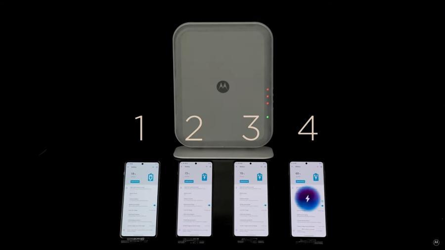 Carregador sem fio da Motorola carrega até 4 celulares ao mesmo tempo - Reprodução/YouTube