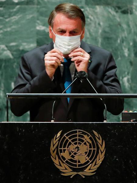 21.set.2021 - O presidente Jair Bolsonaro durante discurso de abertura da 76ª Assembleia-Geral da ONU - Eduardo Muñoz/Reuters