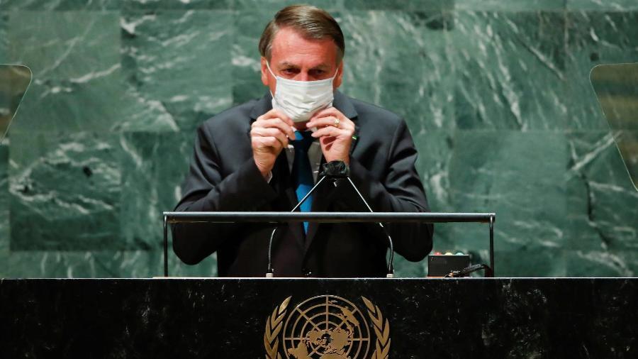 O presidente Jair Bolsonaro durante discurso de abertura da 76ª Assembleia-Geral da ONU - Eduardo Muñoz/Reuters