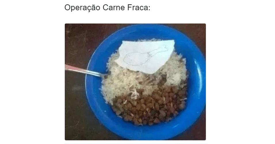 Memes da Operação Carne Fraca: papel no prato