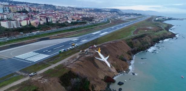 Avião da Pegasus Airline viajava de Ancara a Trabzon, onde derrapou na noite de sábado (13)