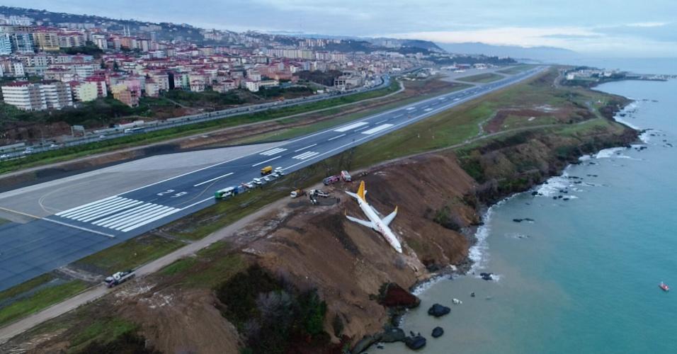 14.jan.18 - Vista do avião da Pegasus Airline que derrapou no aeroporto de Trabzon, perto do mar Negro, na Turquia